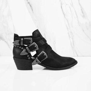 DOLCE VITA Black Spur Multiple Buckle Ankle Boots